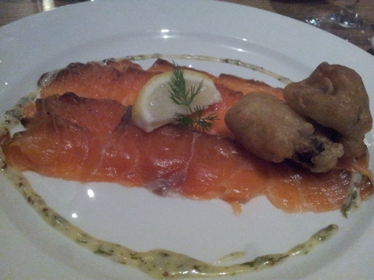 Treacle cured smoked salmon with a deep fried oyster