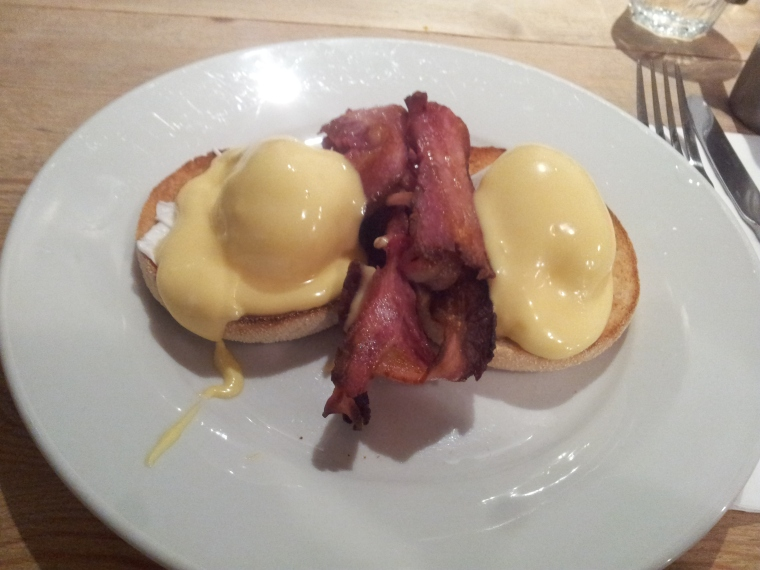 Urban Angel's eggs benedict with crispy bacon - yum!