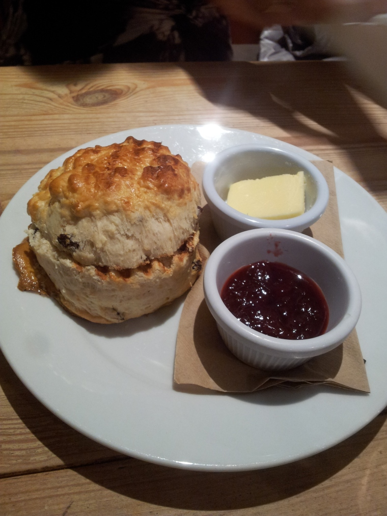 Urban Angel's fruit scone with butter and jam