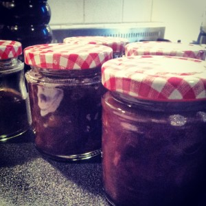 Red onion chutney safely in their jars!