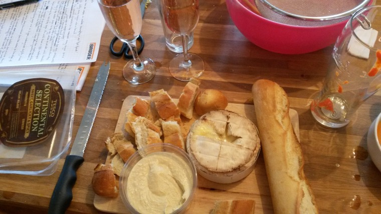 Baked Camembert, warm bread, humous and fizz