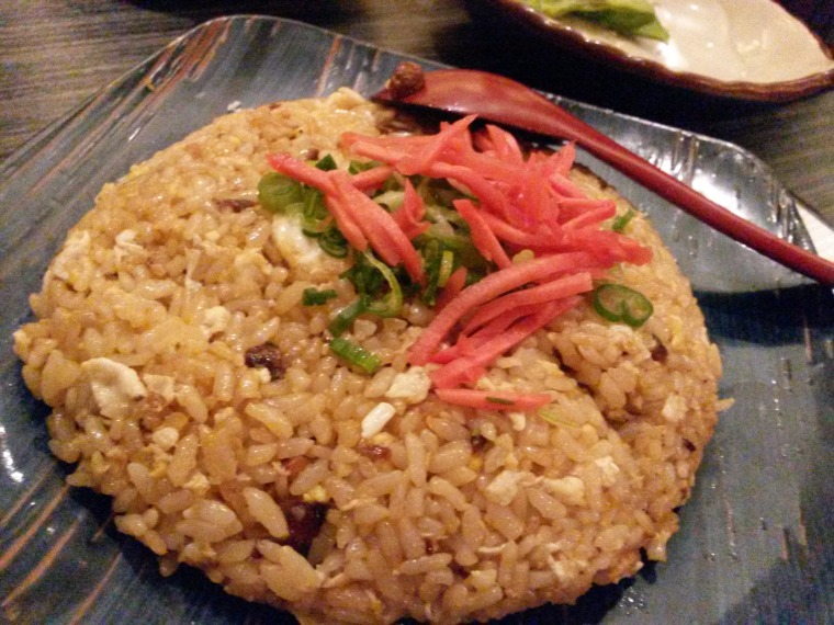 Generous portion of garlic fried rice