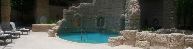 Panoramic view of the outdoor spa patio