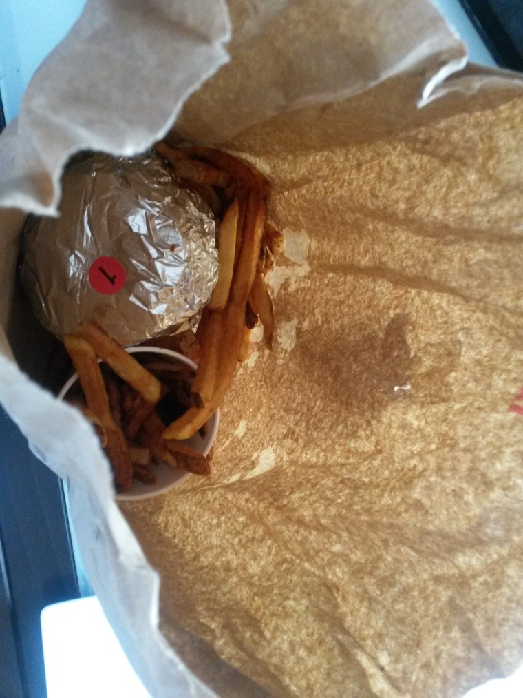 paper bag from Five Guys
