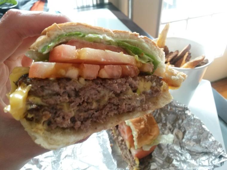 Five Guys burger halved