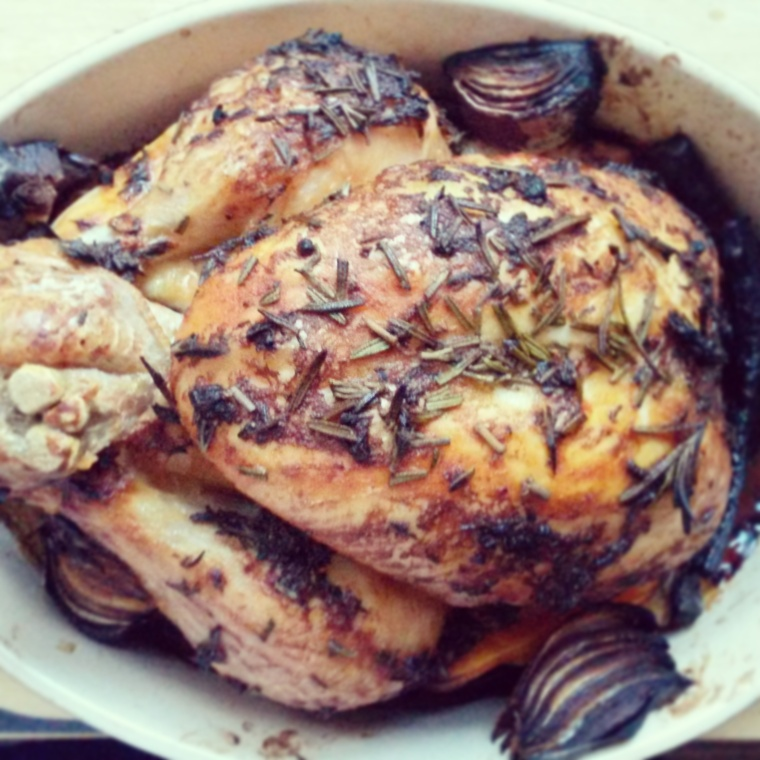 roast chicken birds-eye view