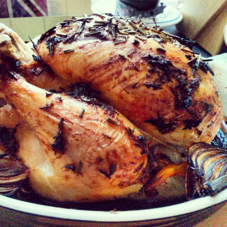 roast chicken side view