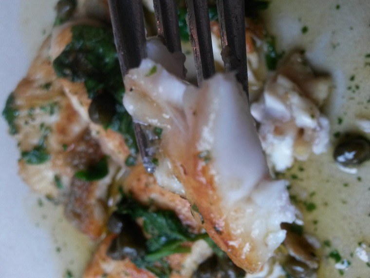 plaice on fork