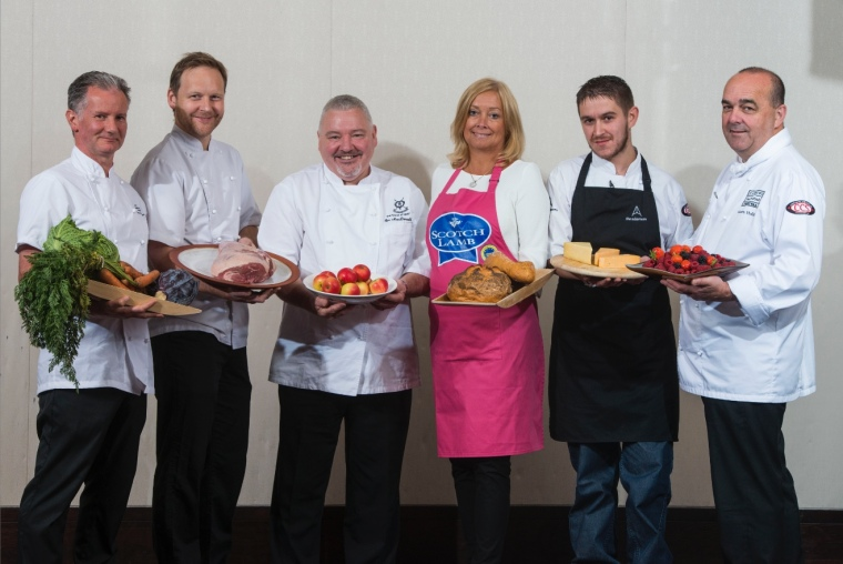 A Culinary Collaboration: six leading chefs from in and around St Andrews lead this year's St Andrews Food & Drink festival with a month-long calendar of events and activities. L-R: Alan Matthew of the Fairmont St Andrews, Geoff Smeddle of the Peat Inn, Ian MacDonald of The Links Trust, Susan Pieraccini of Rocca, Stewart Macaulay on The Adamson and Martin Hollis of the Old Course Hotel, Golf Resort & Spa.  Photo credit: Alan Richardson.