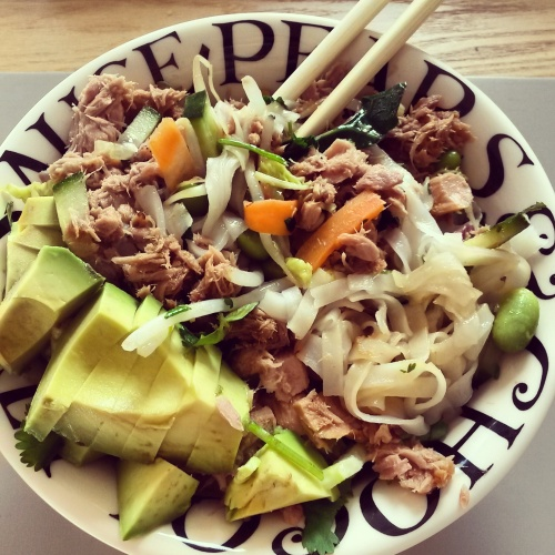 My sticky tuna dish with rice noodles and avocado